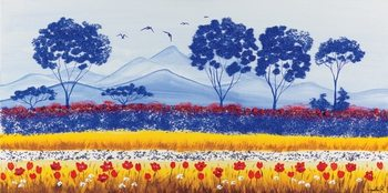 Blue Meadow of Poppies Kunstdruck