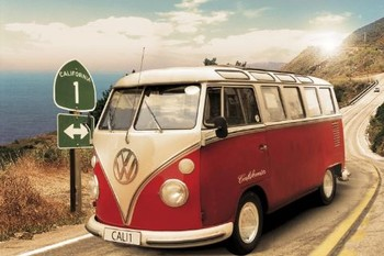 Poster Californian camper - Route one