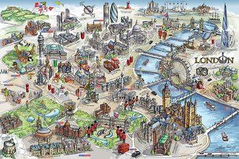 Poster Karta över London