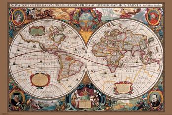 Poster Karte von Welt, Weltkarte - 17. Jahrhundert