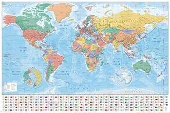 Poster Karte von Welt, Weltkarte - Flags and Facts