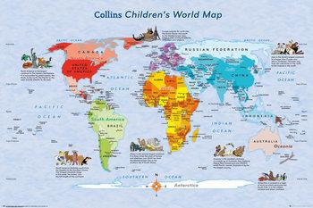 Karte von Welt, Weltkarte für Kinder Poster