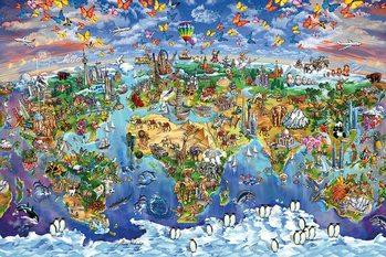 Poster Karte von Welt, Weltkarte - Maria Rabinky