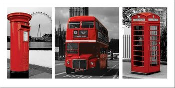 London - Red Triptych Kunstdruck