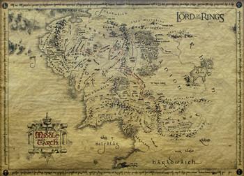 Poster Sagan om Ringen - karta över Midgård (special)