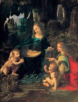 The Virgin of the Rocks - Madonna of the Rocks Kunstdruck