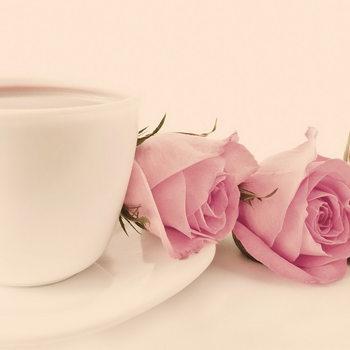 Pink Roses Print på glas