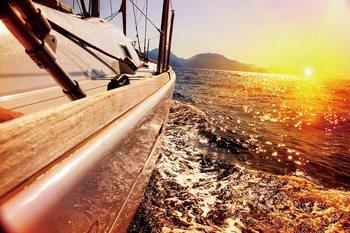 Quadri in vetro Sea - Boat on the Sunny Sea