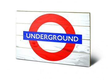 Londen - Underground Sign Schilderij op hout