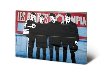 The Beatles In Paris  Schilderij op hout