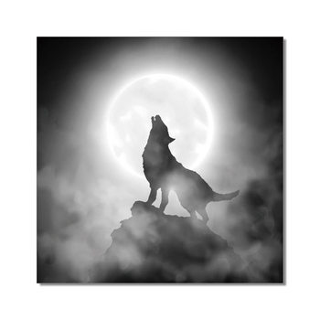 Wolf howling to the moon Schilderij