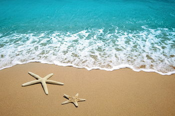 Skleněný Obraz Moře - Hvězdy v písku