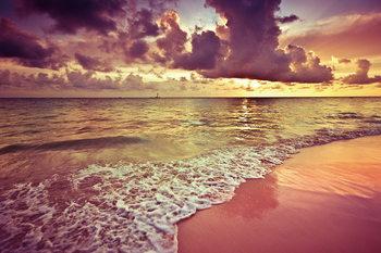 Skleněný Obraz Růžová pláž