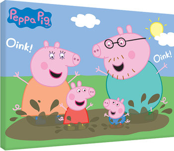Stampa su Tela Peppa Pig - Pig Family Muddy Puddles