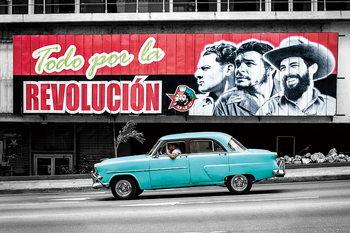 Cars - Blue Cadillac Steklena slika