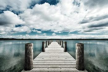 Landing Jetty with Sea of Clouds Steklena slika
