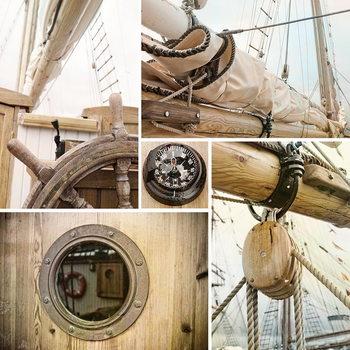 Sailing Boat - Collage 2 Steklena slika