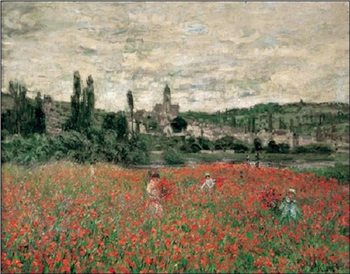 Poppy Field Near Vetheuil Reproduction d'art
