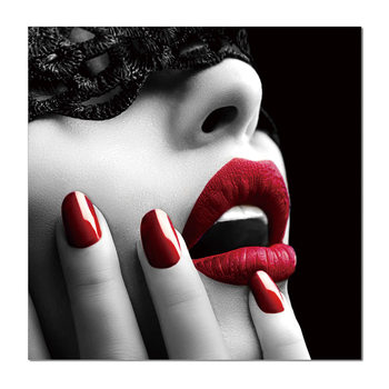 Glamour portrait - red lips Tablou