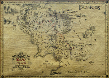 The Lord Of The Rings - Middle Earth Map (special) - плакат (poster)
