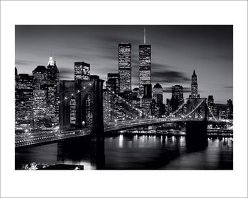 Brooklyn Bridge at Night - B&W Reprodukcija