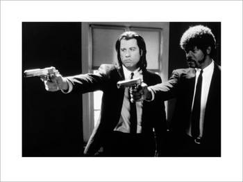 Pulp Fiction - guns b&w Reprodukcija
