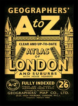 London - A-Z Vintage üveg keretes plakát