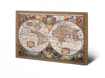 Világtérkép - 17. század plakát fatáblán