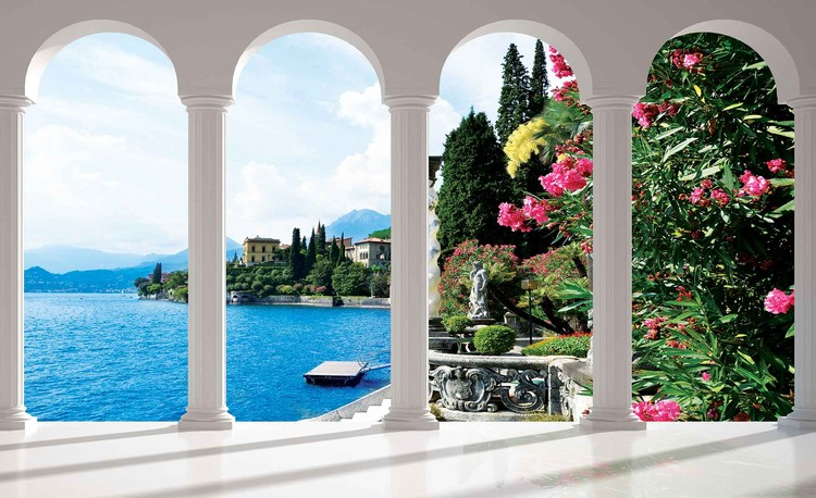 Ταπετσαρία τοιχογραφία Lake Como Italy Arches