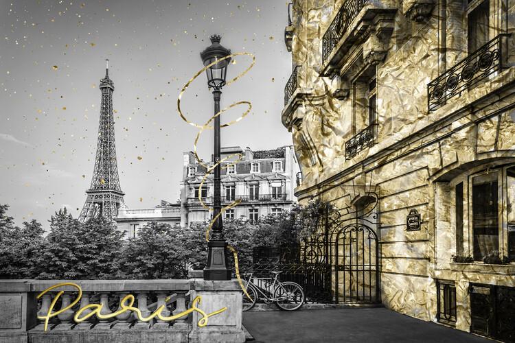 Ταπετσαρία τοιχογραφία Parisian Charm   golden