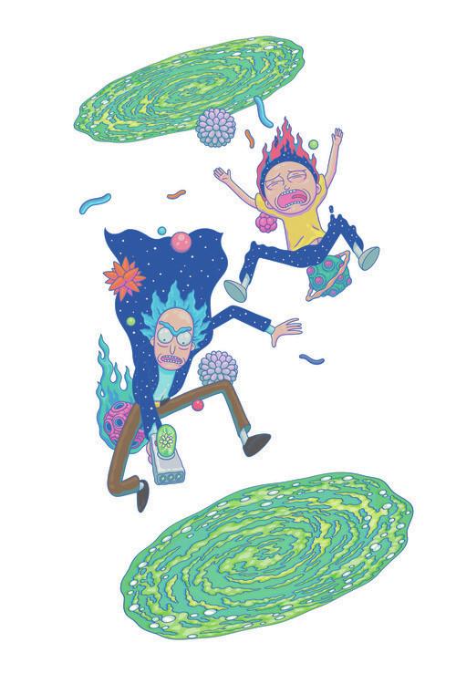 Ταπετσαρία τοιχογραφία Rick & Morty - Μεγάλη πτώση