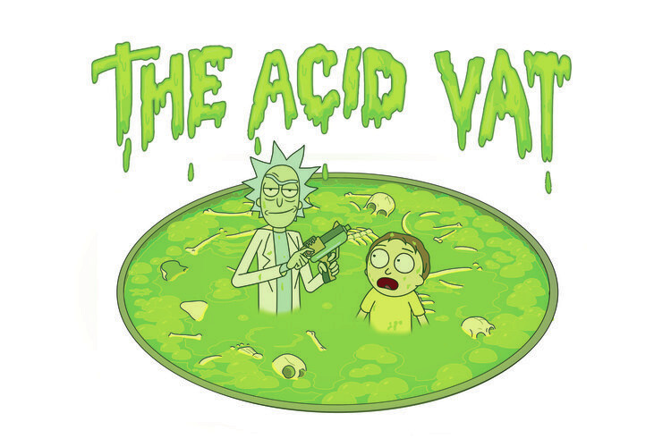 Ταπετσαρία τοιχογραφία Rick & Morty - The acid vat