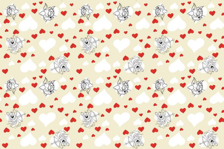 Ταπετσαρία τοιχογραφία Tom a Jery - Valentine's day