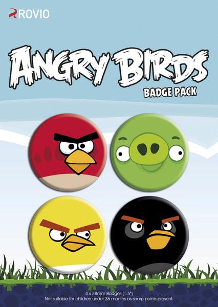 Значка комплект 4 броя ANGRY BIRDS - faces