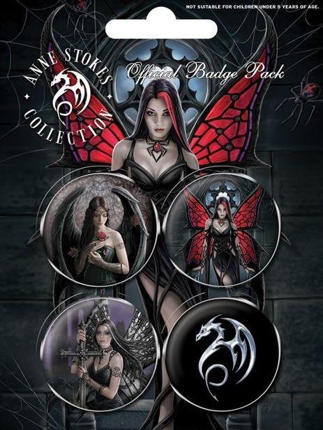 Значка комплект 4 броя ANNE STOKES - gothic