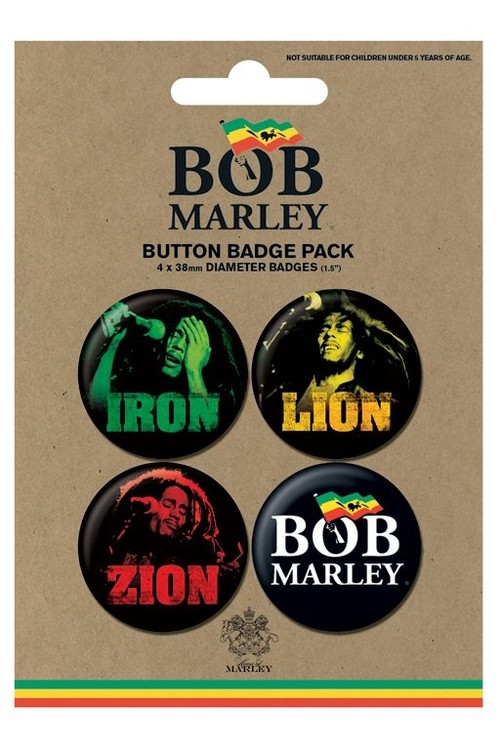 Значка комплект 4 броя BOB MARLEY - iron lion zion