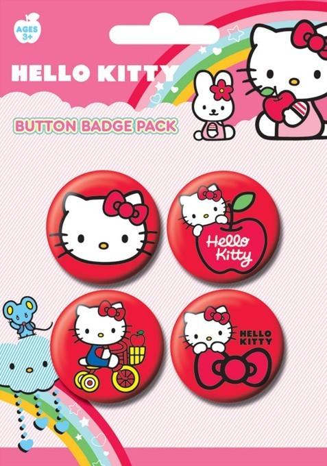Значка комплект 4 броя HELLO KITTY - red