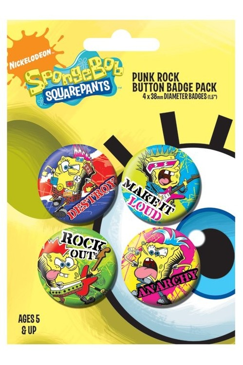 Значка комплект 4 броя SPONGEBOB - punk