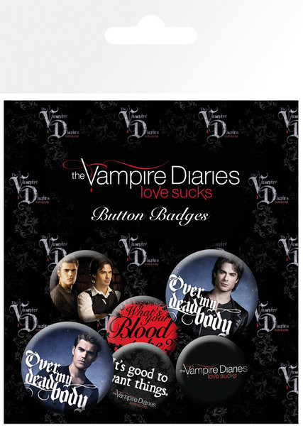 Значка комплект 4 броя The Vampire Diaries - Stefan & Damon