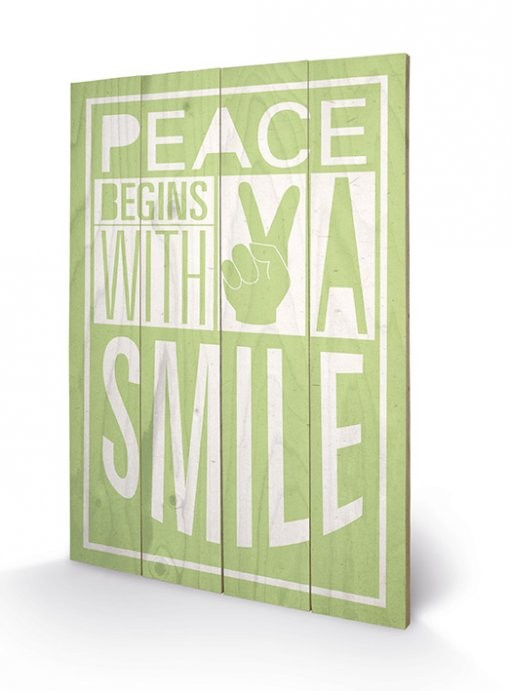 Изкуство от дърво Sarah Winter - Peace Begins With A Smile