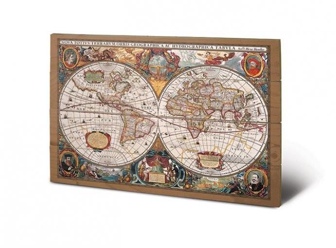 Изкуство от дърво World Map - 17th Century