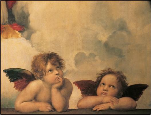 Raphael Sanzio - Sistine Madonna, detail - Cherubs, Angels 1512 Картина