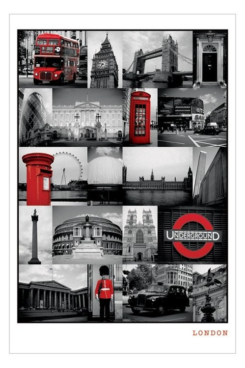 London - red collage Плакат