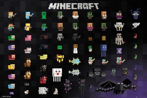 Minecraft Pixel Sprites плакат постер продано на Europosters