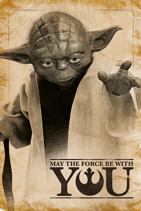 Star Wars - Yoda, May The Force Be With You Плакат