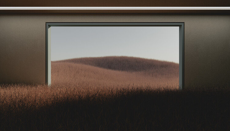 Dark room in the middle of brown cereal field series  1 фототапет