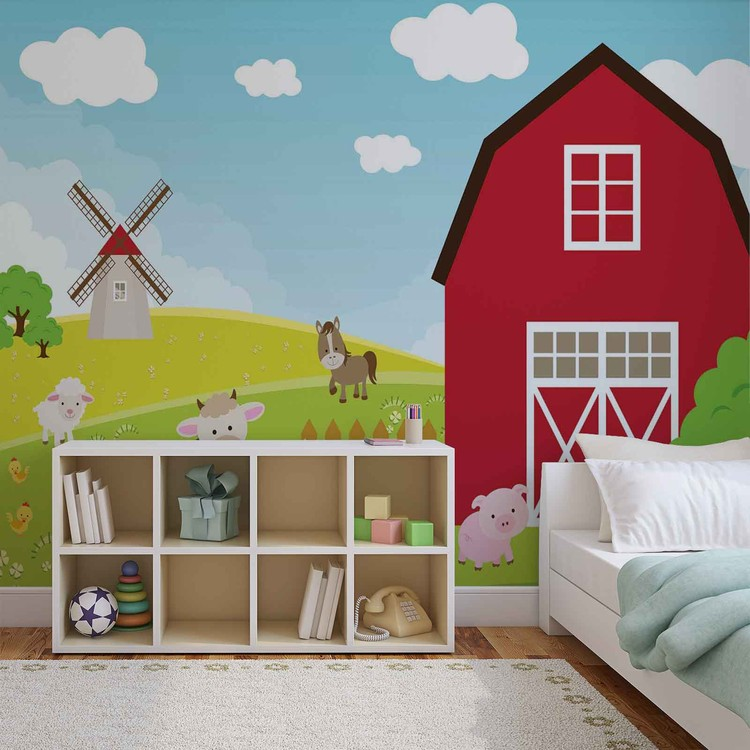 Farm Cartoon Boys Bedroom Фото-тапети