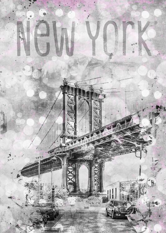 Graphic Art NEW YORK CITY Manhattan Bridge фототапет