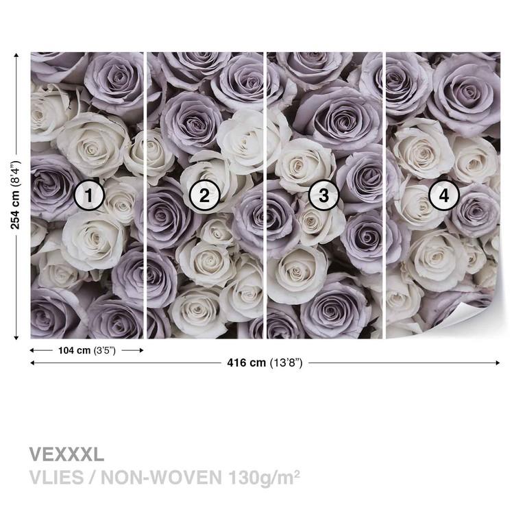 Roses Flowers Purple White фототапет