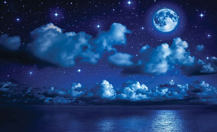 Sky Moon Clouds Stars Night Sea фототапет